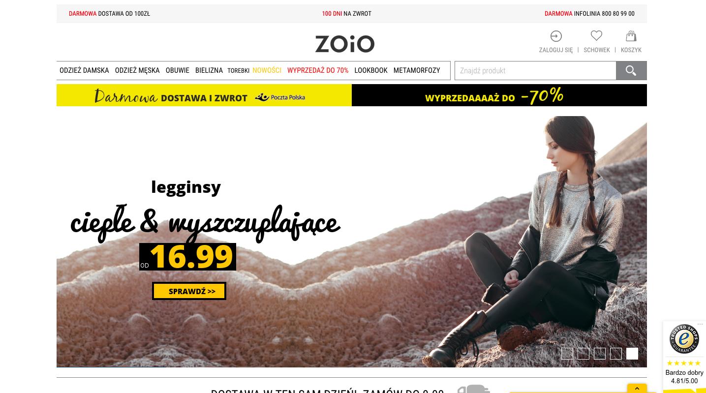 Kampania SEO sklepu z odzieżą damska ZOIO